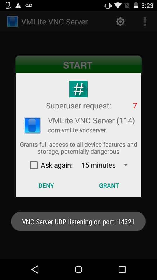 Asking for SuperSU VMLite VNC Server