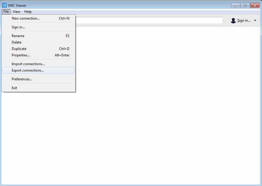 Export Connections Windows VNC Viewer