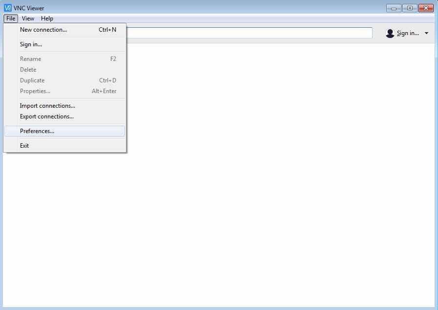 Preferences Windows VNC Viewer
