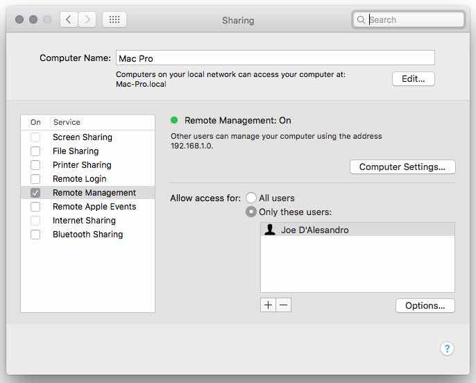 Remote Sharing Mac