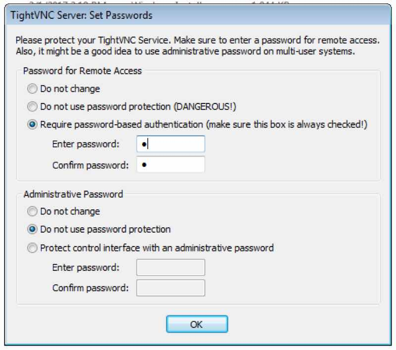 Set Passwords TightVNC