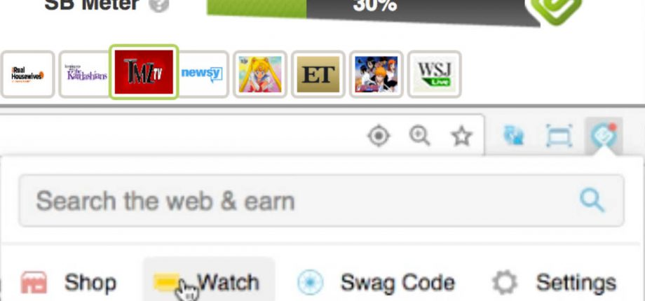Swagbucks Toolbar TV Preview